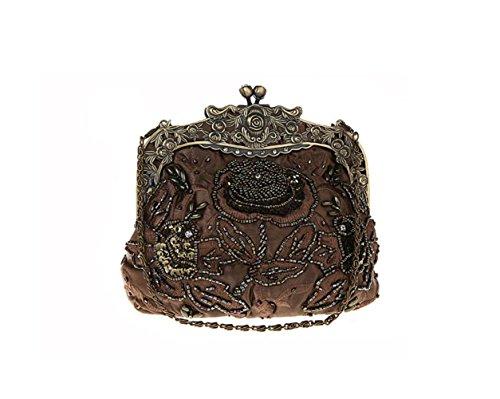 Bag Diamond Bag Clutch Wenl Embroidery Bags Bead Handbag Handbag Browncolor Cheongsam Women Browncolor Bag Bridal Wedding HPwxzwR