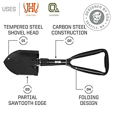 SOG Folding Shovel Survival Shovel – Entrenching Tool 18.25 Inch Foldable Shovel Camping Shovel w/ Wood Saw Edge and Tactical Shovel Carry Case (F08-N)