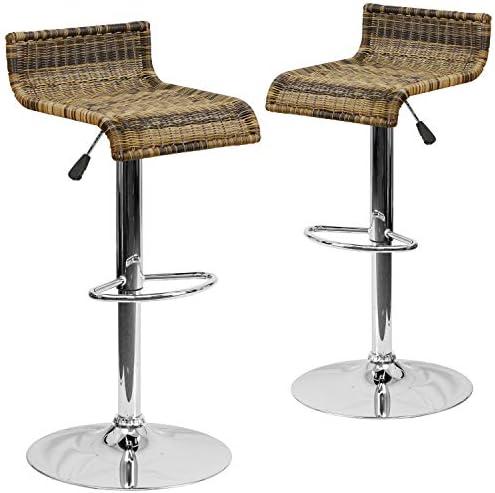 Flash Furniture 2 Pk. Contemporary Wicker Adjustable Height Barstool