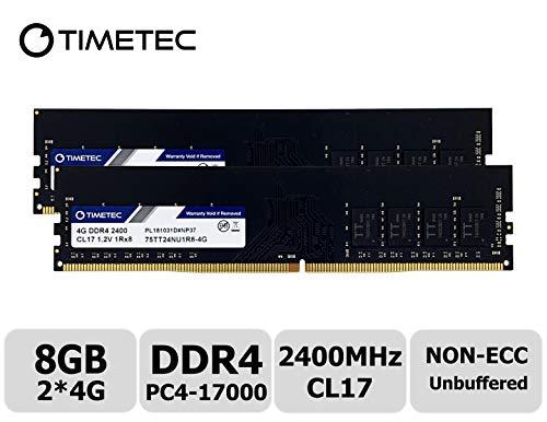 Timetec Hynix IC 8GB Kit (2x4GB) DDR4 2400MHz PC4-19200 Unbuffered Non-ECC 1.2V CL17 1Rx8 Single Rank 288 Pin UDIMM Desktop Memory RAM Module Upgrade (8GB Kit (2x4GB)) ()