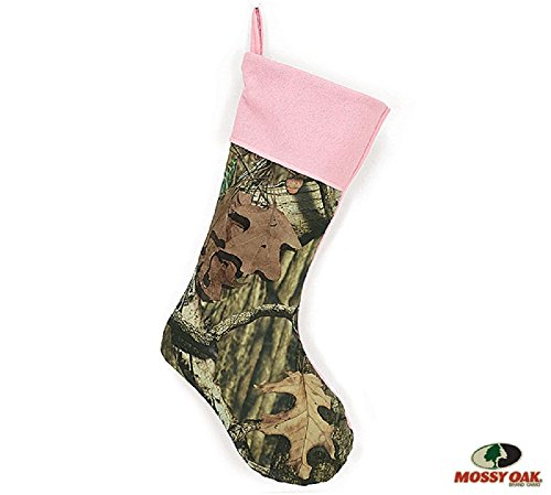 """Mossy Oak 20"""" Camouflage Christmas Stocking with Pink Trim for Holiday Decoration"""