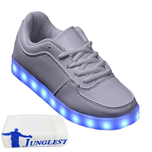 (Present:kleines Handtuch)JUNGLEST JUNGLEST(TM) 7 Colors USB Charging LED Lighted Luminous Couple Casual Sport Shoes Sne Weiß
