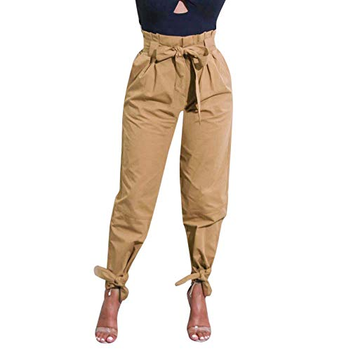 (Kirbyates Pants Women's Casual High Waist Belted Trousers Ladies Party Straight Leg Lounge Pants Khaki)