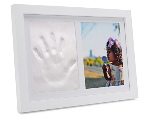 "BIG PHOTO Clay Handprint Footprint Photo Frame Keepsake Kit for Babies, Kids and Pets – Baby Shower and Registry Gift | 5x7"" Photo, Mold-Free Clay and Expert Instructions – Mantle, Nursery or Wall (Photo Keepsake Crystal)"