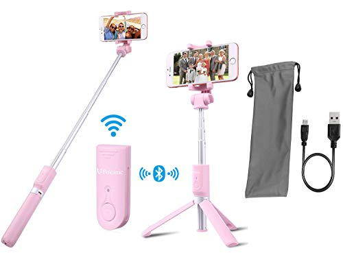 (Selfie Stick Tripod POKANIC Bluetooth Wireless Remote Control Extendable Adjustable Stand Mount Compatible with iPhone XS Max/ XS/ XR/ X/ 8/ 8 Plus/ 7/ 7 Plus, Galaxy S10 Plus/ S10/ S10e/ S9/ (Pink))