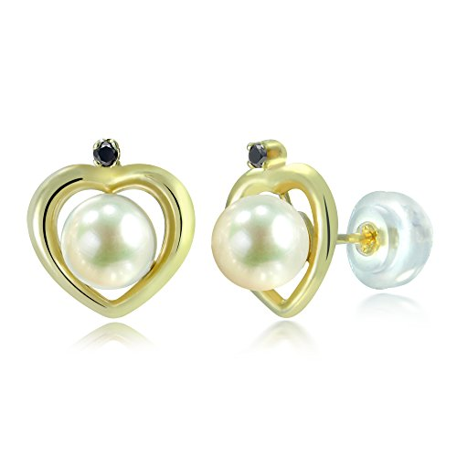 14KY Gold Heart Shape .02tcw Black Diamond 5-5.5mm White Freshwater Cultured Pearl Stud Earrings ()