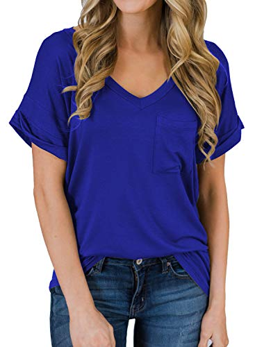 (MIHOLL Women's Short Sleeve V-Neck Shirts Loose Casual Tee T-Shirt (06_ Blue, XX-Large))