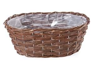 Prima Flora 410168 - Cesta para vajilla de picnic (oval), color marrón