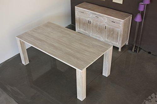 Tavolo Da Pranzo Shabby : Tavolo shabby in legno di teak finitura bianco decapato arredo