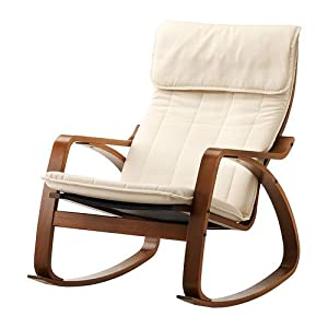 Ikea poang rocking chair medium brown with - Chaise rocking chair ikea ...