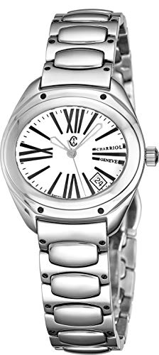 Charriol The Force Womens Stainless Steel Watch - White Face with Luminous Hands, Date and Sapphire Crystal - Swiss Made Classic Ladies Oval Quartz Watch FS.130.FS05