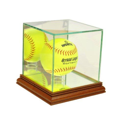 Perfect Cases MLB Softball Glass Display Case, Walnut