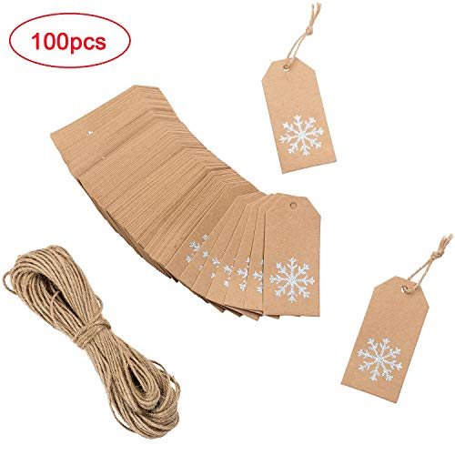 - MISS FANTASY Christmas Kraft Paper Gift Tags Tags Xmas Hanging Gift Wrap Labels with Glitter Snowflake Print Set of 100 Include 64 Feet Twines (100pcs)
