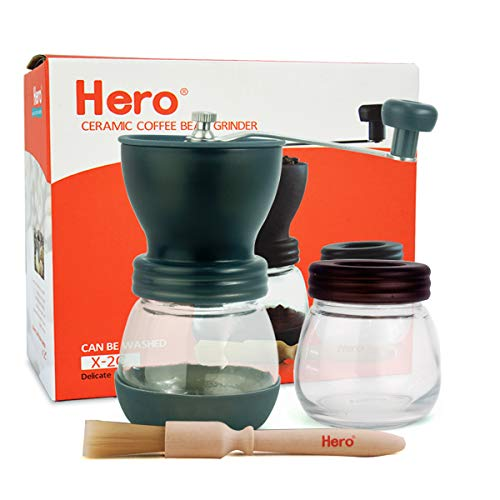 Hero Manual Coffee Grinder-Conical Ceramic Burr Mill, Adjustable Hand Precision Brewing X-2C,Upgrade