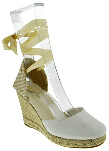 BAMBOO Timeoff 02 Womens Closed Toe Leg Wrap Espadrille Wedge Dress Sandals Beige 8 Ankle Wrap Espadrille Womens Wedge