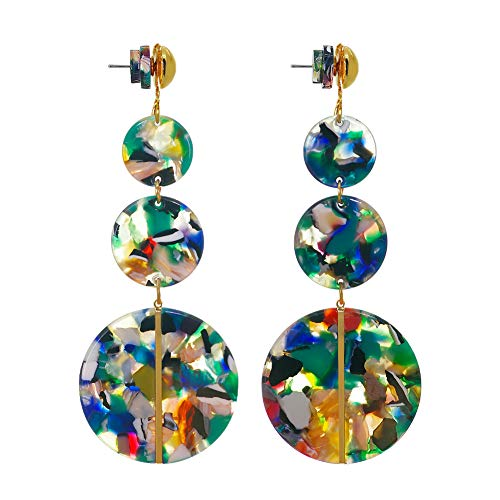 - Jinling Green Acrylic Earrings for Women- Bohemian Statement Drop Dangle Earrings Resin Stud Earrings for Women Girls Fashion Jewelry (Green Floral Print)