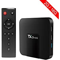 Mercu 2GB/16GB TX3 Mini TV Box Amlogic S905X Android 7.1 Marshmallow Quad Core 3D 4K HD WiFi Google Smart TV Box for Home Entertainment