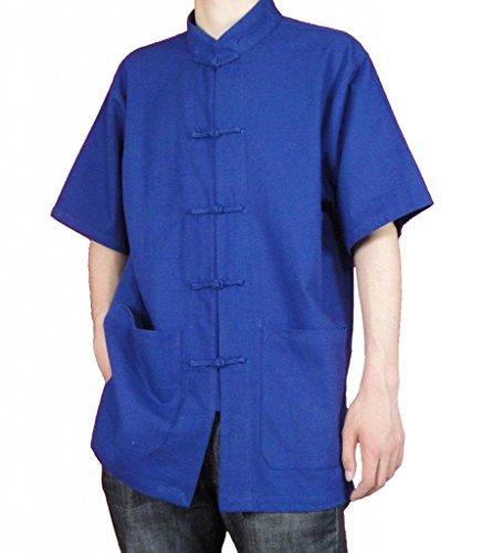 auf 113 Chi Handgefertigt Tai Leinen Hemd Blau Blaues Feinem Maßgeschneidertes p4Xq84
