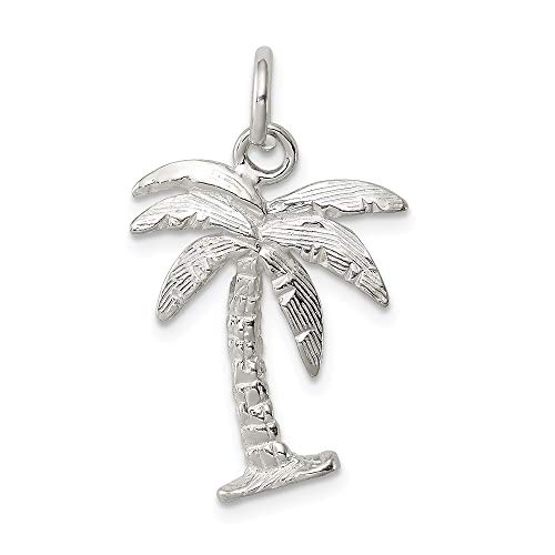 Mireval Sterling Silver Palm Tree Charm (approximately 20 x 16 mm) ()