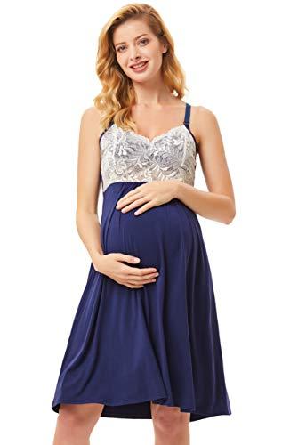 Maternity Women's Goddess Lace Trim Nursing Chemise Gown XL