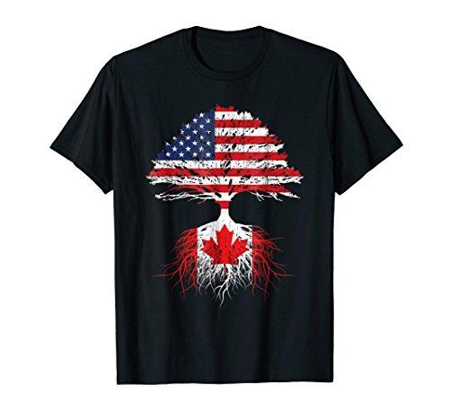 Canadian Roots American Grown Canada Flag Tshirt Men Women