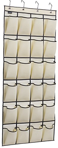 MISSLO Over the Door Shoe Organizer 24 Large Fabric Pocket Closet Accessory Storage Hanging Shoe Hanger, Beige…