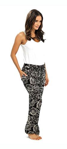 Mujer Pantalones Ligeros Verano, diseño de impresión negro