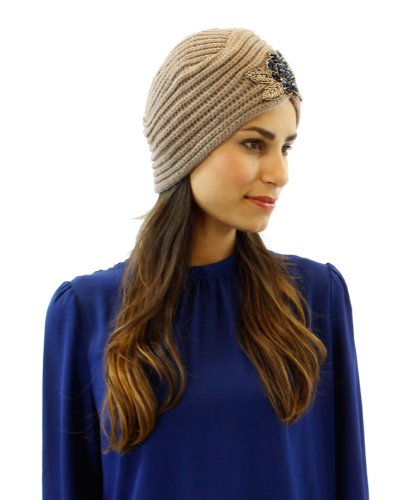 Floral Beaded Beret Turban Glove Colors: Taupe