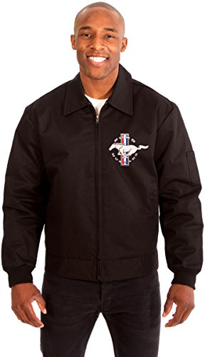 AFC Ford Mustang Men's Mechanics Jacket With Front Chest Emblem Available In Black or Gray or Navy (X-Large, Black)