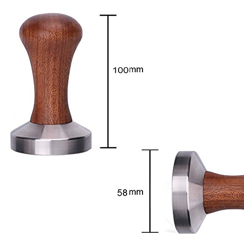 Espresso Tamper - Premium Barista Coffee Tamper with wood & Stainless Steel Base (wood-57mm)
