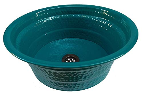 Egypt gift shops Light Weight Metal Hand Wash Bathroom Vessel Drop in Textured Sink Lavatory Basin Boat Yacht Trailer Caravan Blue Aqua Verde Bowl Remodel