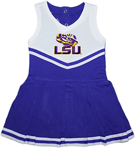 Baby Infant Cheerleader Dress (Louisiana State University (LSU) Tigers Newborn Baby Cheerleader Bodysuit Dress,Purple,3-6 Months)