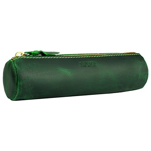LXFF Handmade Leather Zipper Pen Pencil Pouch Case Holder Bag for College School Office Business Work Vintage Green by LXFF