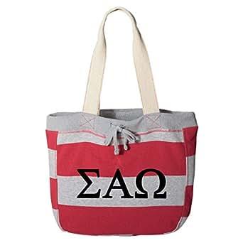 Sigma Alpha Omega Striped Beachcomber Tote Bag