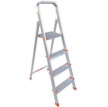 PlutoMax 4 Step Foldable Aluminium Ladder for Home Use