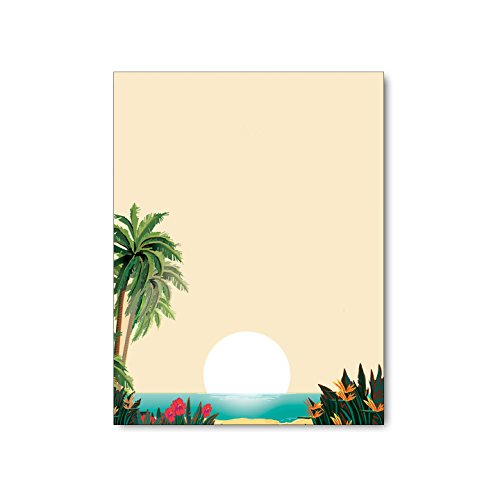 Tropical Beach Scene Stationery - 8.5 x 11 - 60 Tropical Letterhead Sheets - Tropcial Theme Letterhead