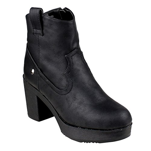 Western Style Platform Ankle High Top Block Heel Booties, Color Black, Size:11 (Leather Color Block Platform)