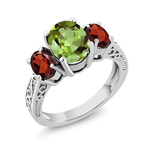 925 Sterling Silver Green Peridot & Red Garnet 3-Stone Women's Ring 2.45 Ctw Oval Gemstone Birthstone (Size 7) -