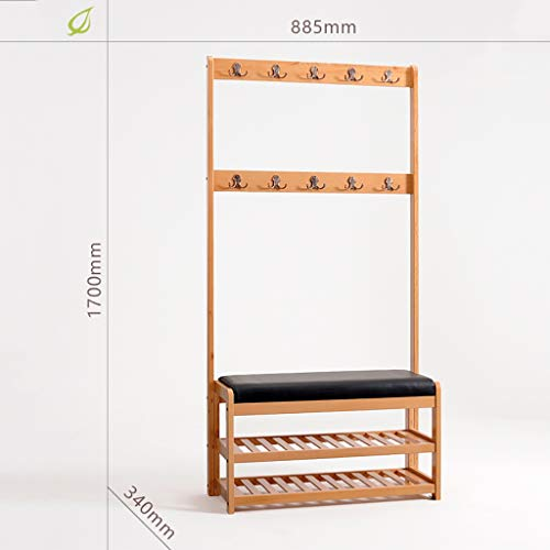 HDHXDS Entrance Door Change Shoe Bench with Multifunctional Coat Rack Shoe Rack Shoe Stool Storage Stool Frame Sofa Stool Shoe Cabinet Birch (Size : 8853401700MM)