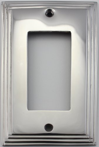 (Polished Nickel Deco Step Style 1 Gang GFI/Rocker Opening Switch Plate)