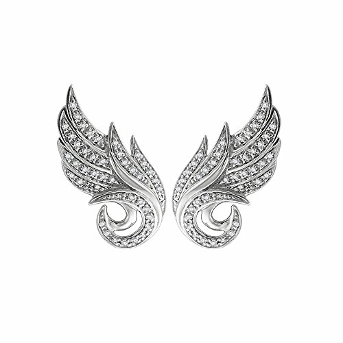 925 Sterling Silver Angel Feather White Diamond Earring (GH, I1-I2, 0.22 carat)