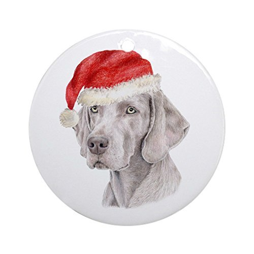Delia32Agnes Christmas Weimaraner Christmas Ornaments Porcelain Ceramic Round 3 Inches Ornament Christmas Tree Decorations