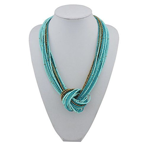 Bocar Blue Green Seed Beads Multilayer Chunky Bib Statement Knot Necklace