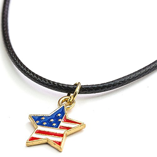 (Soul Statement 4th of July Accessories Heart Charm USA Flag Pendant Necklace Choker Party Jewelry (USA Flag Star) )