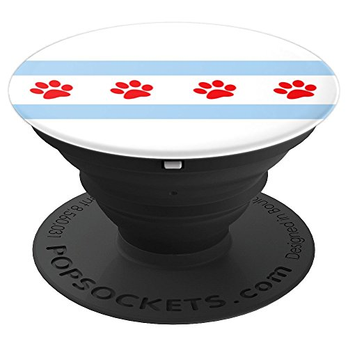 Windy City Paws (CHICAGO FLAG Paw Prints PopSocket - PopSockets Grip and Stand for Phones and)