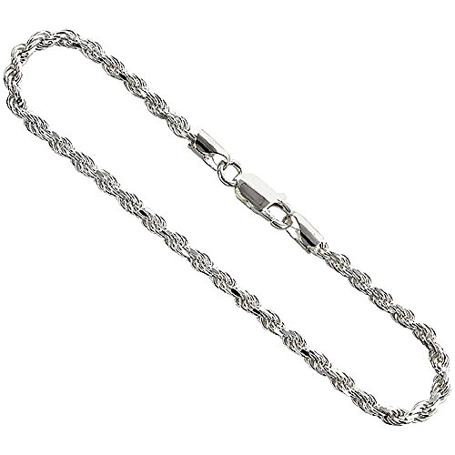 Sterling Silver Rope Chain Bracelet 3mm Diamond cut Nickel Free Italy 9 inch
