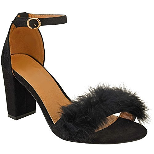 Fashion Thirsty Womens Ladies Faux Fur Fluffy Low Wedge Heel Sandals Strappy Party Shoes Size UK Black Faux Suede / Gold Coloured Buckle kAHuZuJ