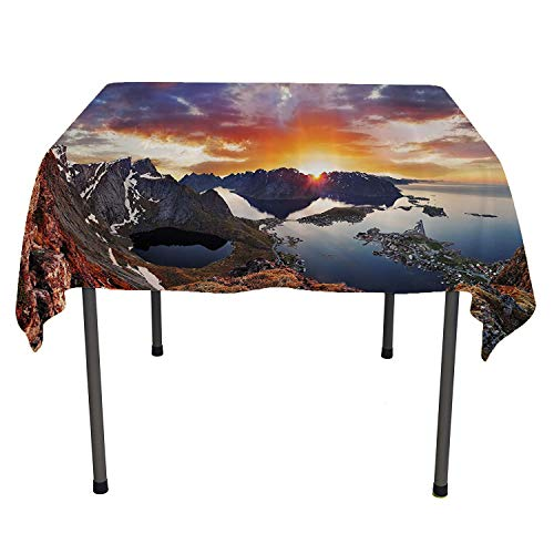 Wide Tap, Luxurious Table Cloth Wrinkle Resistant Aerial View of Mountain Range with Creek Northern Horizon Idyllic Art Image, for Outdoor and Indoor Use, 60x60 Inch Slate Blue Orange