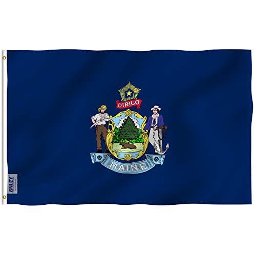 Anley Fly Breeze 3x5 Foot Maine State Flag - Vivid Color and UV Fade Resistant - Canvas Header and Double Stitched - Maine ME Flags Polyester with Brass Grommets 3 X 5 Ft
