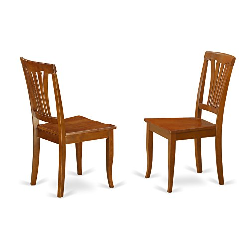 East West Furniture AVC-SBR-W Chair Set with Wood Seat, Saddle Brown Finish, Set of 2 Review